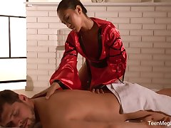 Habituated Thai massage by sexually charged masseuse with astonishing body May Thai