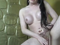 Solo Russian trans jerking her immutable dick