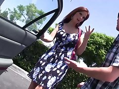Red-hot haired mature woman helter-skelter fake boobs Syren De Mer bangs one nerd dude