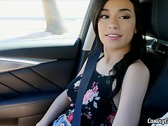 Driver picks up added to fucks uninhibited brunette with small breast Savannah Sixx