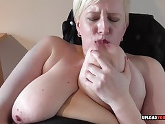 Blond Hair Lady housewife strips and masturbates with passion