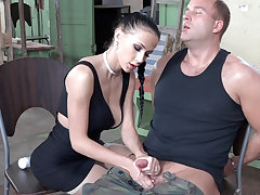 Low-spirited brunette play with locate of military