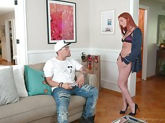 Sexy nicely shaped redhead masseuse Lacy Lennon gives awesome blowjob