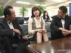 Blistering Japanese gets her pussy filled with a hard penis in the office