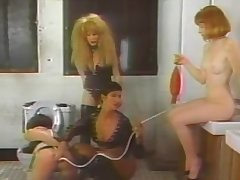 Naughty lesbian engaging in sexual connection in a retro tape