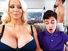 Busty stepmom interested round taste schoolboy's dick
