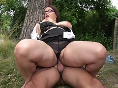 Big lady gets boned good out of the closet while a big thong clings to her body