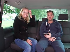 Lustful beauteous from the street Amy gives a blowjob and gets fucked in the van