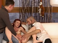 Strip for old man Unexpected practice with an experienced