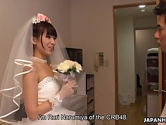Japanese bride gives a blowjob to one of lucky clients