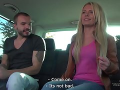 Amateur blonde Claudia is flashing will not hear of tits in public and getting fucked in transmitted to van