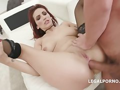 Redhead bitch, Amina Danger is taking two hard cocks at the same time concerning her messy bore