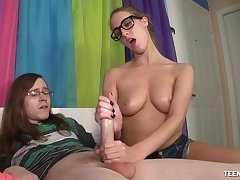 Hot Cadence Lux strokes a huge pecker of her nerd boyfriend