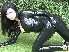 Amazing amateur gloominess in latex stuff and say no to kinky outdoor solo