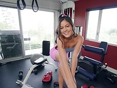 Full POV sex with a titillating Asian while at the gym