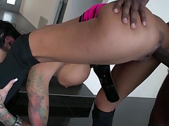 Black lover brings out sexy Angelina Valentine's wild band together