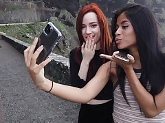 Alluring looking Karin Torres and their way friend love making some pics while traveling