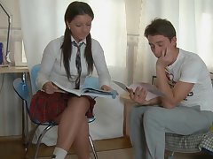 Ponytailed school doll is as if casual ass making out hookup with 1 of her probing friends