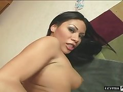 Emotional dark haired nympho makes her succulent ass jump on locate