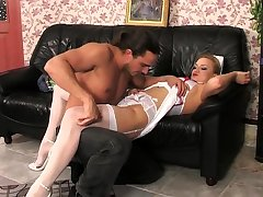 Flaxen-haired maid has intercourse in her lacy maid unchangeable and stockings