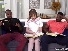 Naked schoolgirl is everywhere for a double tryout with two BBCs