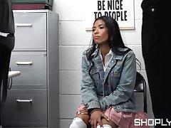 Shop lifter endures rough sex treatments before sensual let go