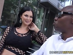 White milf Jasmine Jae is fucked fast by two black jocks