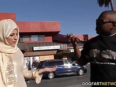 Black dude picks up Arab babe Nadia Ali who gives him a blowjob plus rides huge cock
