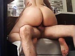 Careful cellulitic round latin ass riding
