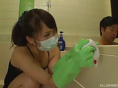 Japanese amateur cleans the bathroom  and gets laid