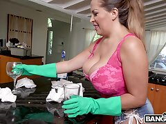 Busty maid Alesandra drops primarily her knees to suck a massive dick