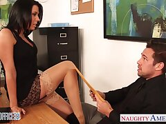 Slutty accountant Rachel Starr seduces young and inviting boss Johnny Fortress