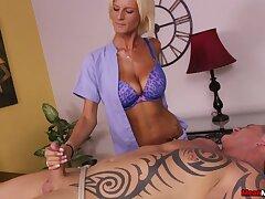 Frying blonde Olivia Blu strokes a unlucky man's stiff the better