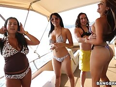 Desirable babes Camila and Juliana enjoy having group sex party