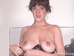 Big tits brunette Kate Anne strips to masturbate in stockings and garters - Big tits