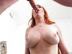 Lauren Phillips gives a sloppy blowjob foreigner her knees