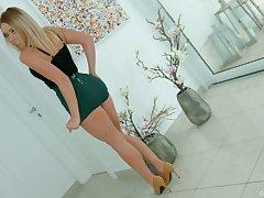 Sparkling chap-fallen blondie Danielle Soul has found a dildo for a good masturbation