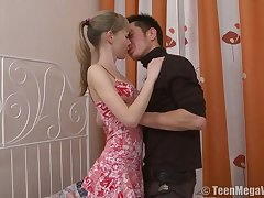 Fresh beautiful babe with chunky boobies Kristina C gets pink slit poked missionary