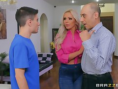 Baulk a blowjob Nina Elle got the brush tight pussy fucked by young guy