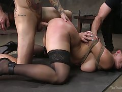 Eternal with restraints obedient curvy whore Skylar Snow is fucked doggy hard